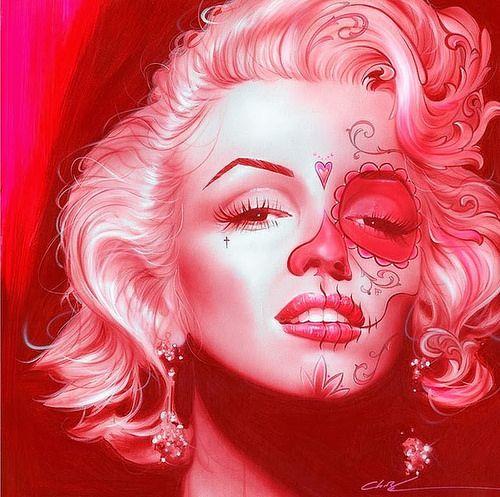 Aerograf a en pintura pintura for Marilyn monroe tattoo canvas