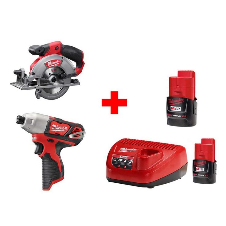 Milwaukee M12 12-Volt Lithium-Ion Cordless 5-3/8 in. Cordless Circular Saw and Impact Driver Combo Kit (2-Tool)
