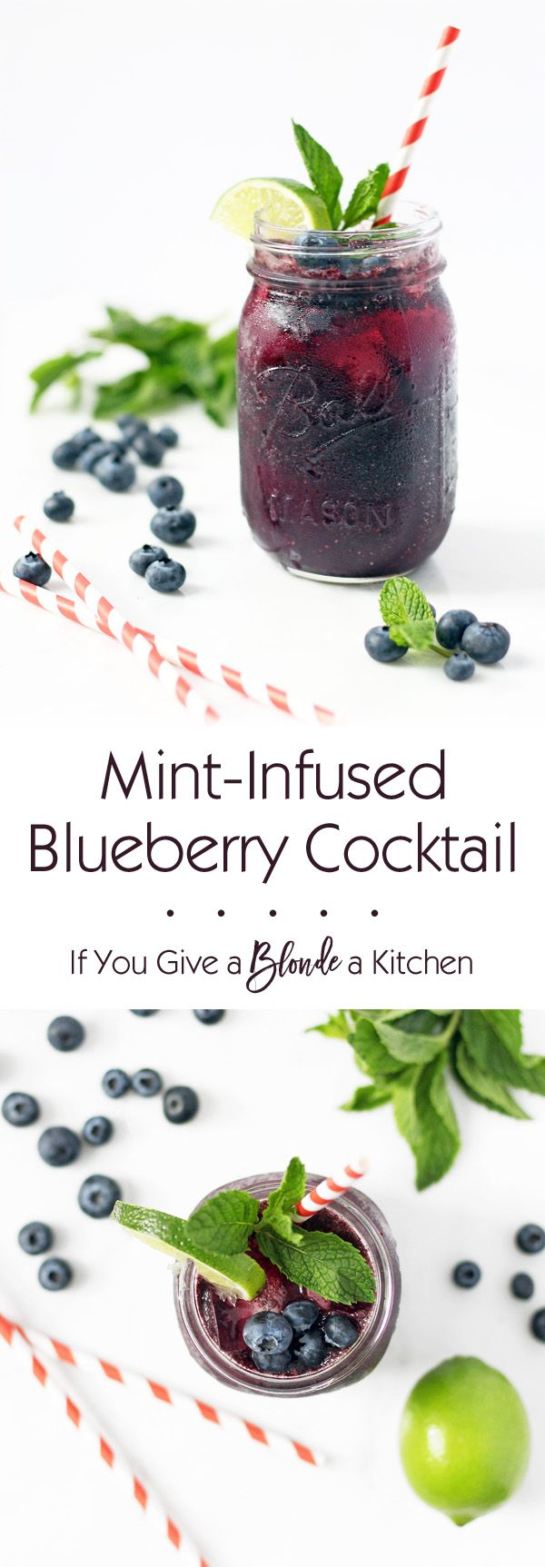 Mint-infused blueberry cocktail is refreshing, subtly sweet and gets you just the right amount of tipsy. This recipe is a must for summer! | www.ifyougiveablondeakitchen.com