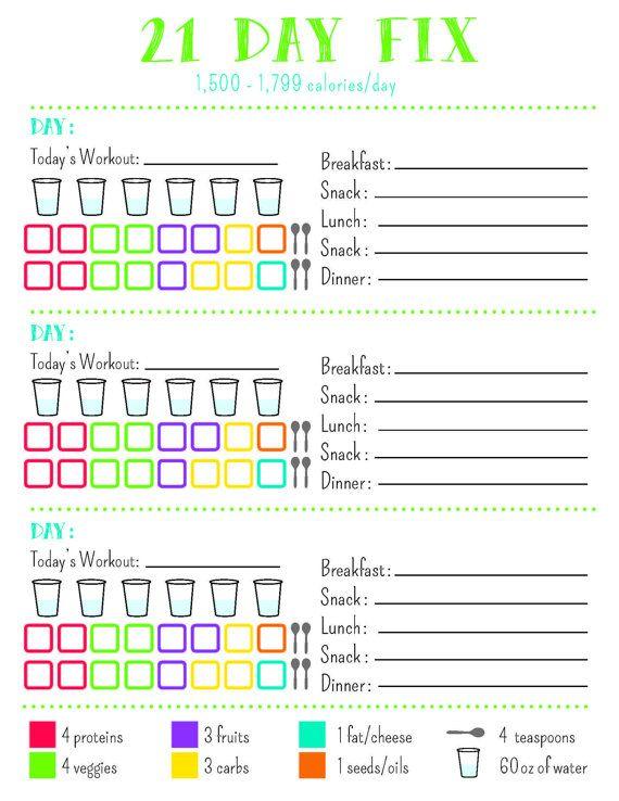 21 Day Fix Tracking Sheet, 1,500 Calorie Bracket Printable PDF