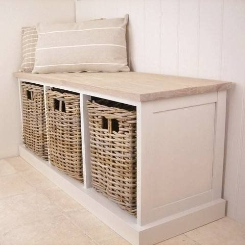 Southwold cedar wooden ivory storage bench seat wicker baskets code 21894 Bench with baskets