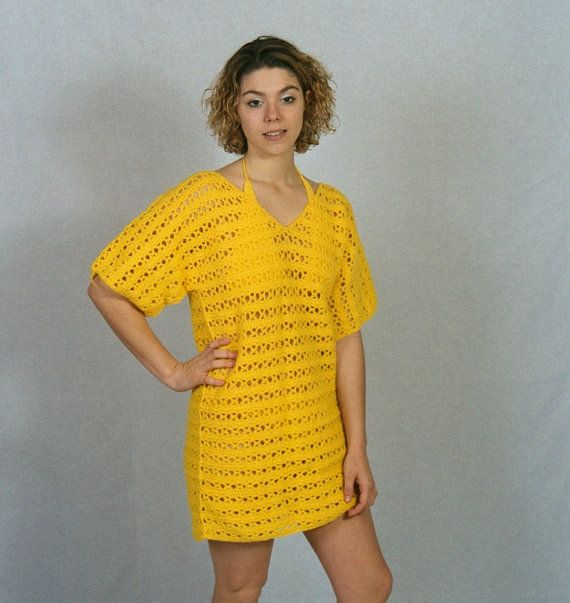 E902 KSt Beach Cover Up Patter by CrochetedPatterns on Etsy, $2.75; No exact stitches - need to continuously measure yourself. (Call me lazy, but I could have designed/made a pattern myself for that).
