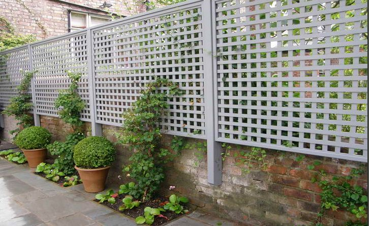 this lattice screen adds height to an existing wall and