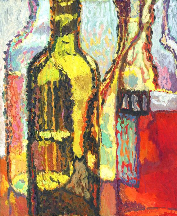 WINE - Colorful Kitchen Decor - Small Still life Wall Art - Bright - Original Painting - Oil canvas - Bottles - 20x23 inches