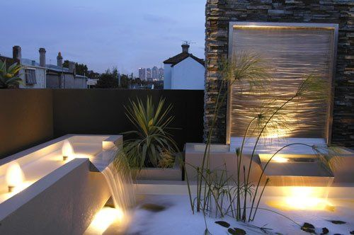 hot tub garden modern great lighting waterfall feature wall stone
