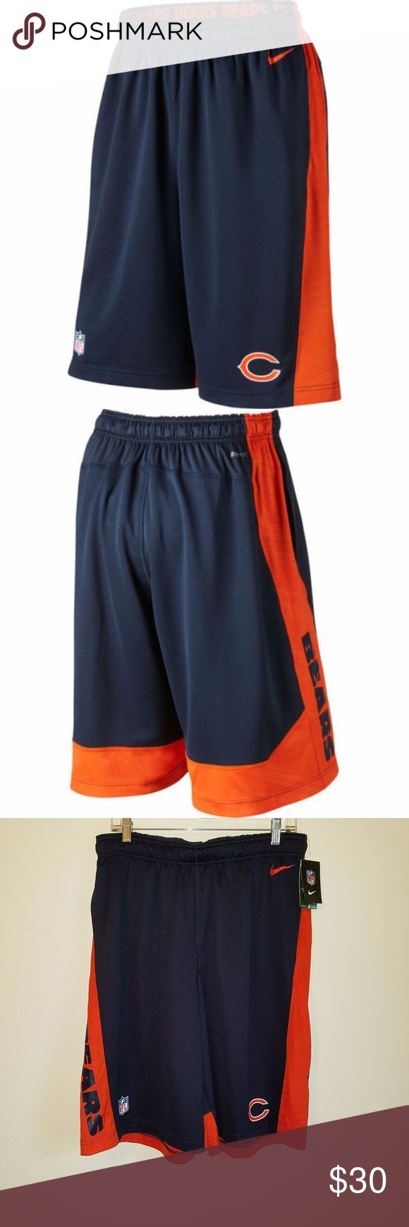 "Chicago Bears Nike Dri Fit Shorts Large THIS IS A BRAND NEW PAIR WITH TAGS AND GUARANTEED AUTHENTIC MEN'S SIZE LARGE NIKE CHICAGO BEARS FLY 2.0 DRI-FIT TRAINING SHORTS. THESE SHORTS ARE BLUE AND ORANGE IN COLOR AND RETAIL FOR $50 PLUS TAX.  597259-459  Thanks for looking! Message me with any questions!  FEATURES:  FABRIC: Dri-FIT 100% polyester FIT: Athletic, 12"" inseam CARE: Machine wash IMPORTED Nike Shorts Athletic"