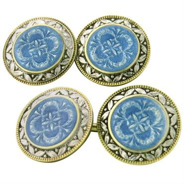 Art Deco 14k white and yellow gold cufflinks,decorated with blue guilloche…