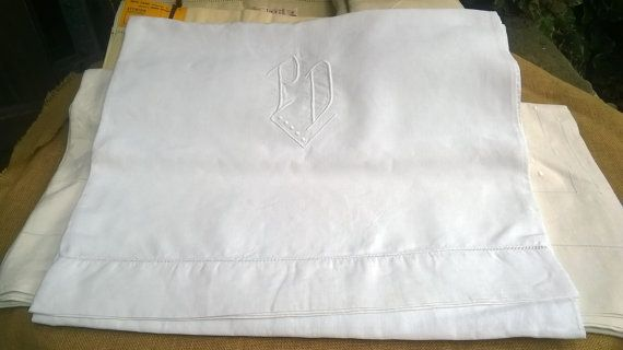 """#Victorian wide French thin """"fil"""" linen Flat Sheet with ladder work.  Thin White…"""