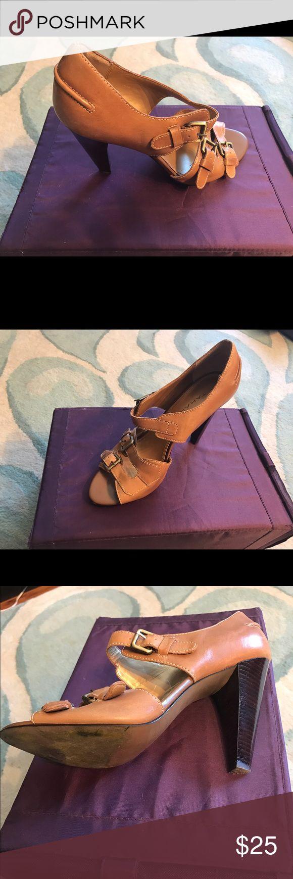 Tahari Camel high heel sandal size 8 Barely worn, fun, trendy sandal. Tahari Shoes Sandals