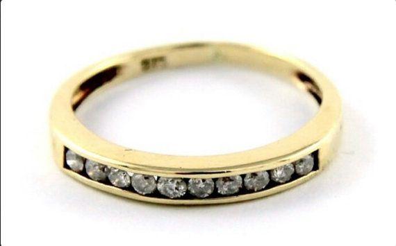 Diamond Wedding Band, 9K Gold Band, •20 Carat Chanel Set Brilliant Cut Diamonds, Size J
