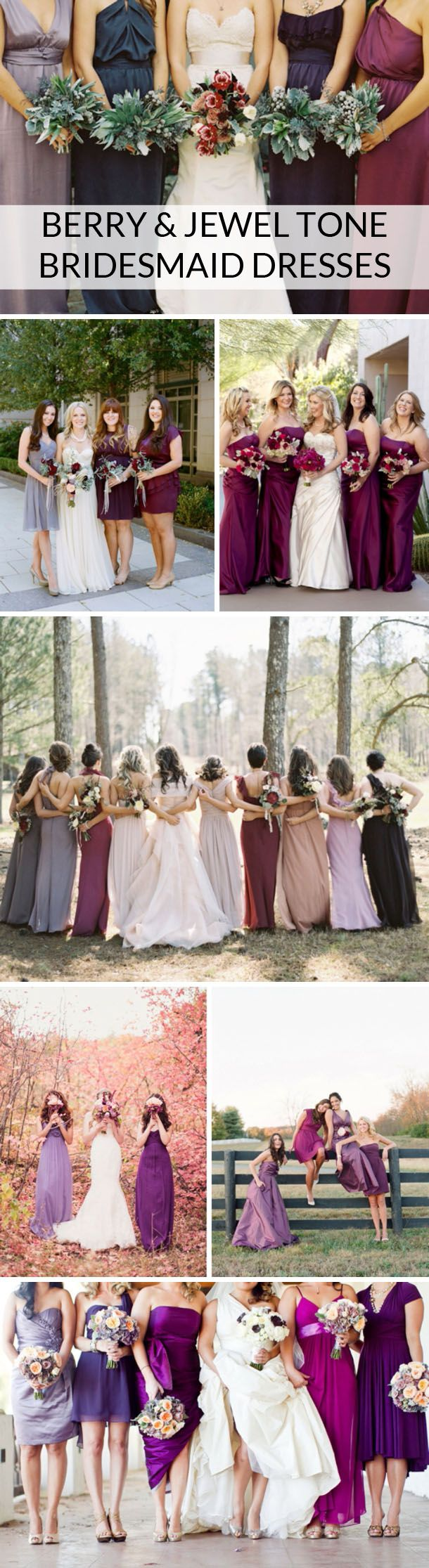 Beautiful berry & jewel tone bridesmaid dress inspiration | SouthBound Bride www.southboundbride.com/berry-jewel-tone-bridesmaid-dresses  Image credits: Jill Thomas // Austin Gros // Laura Segall // Eric Kelley // Alixanne Loosle // Elizabeth Messina // The Collective