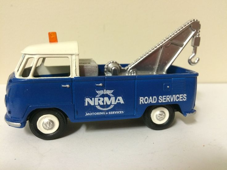 Micro Models VW Kombi wagon chopped and modified into a tow truck.  Micro model tow arm added and decals applied to convert to an NRMA tow truck.  NRMA is a motorist service in Australia. www.diecastdesigns.net