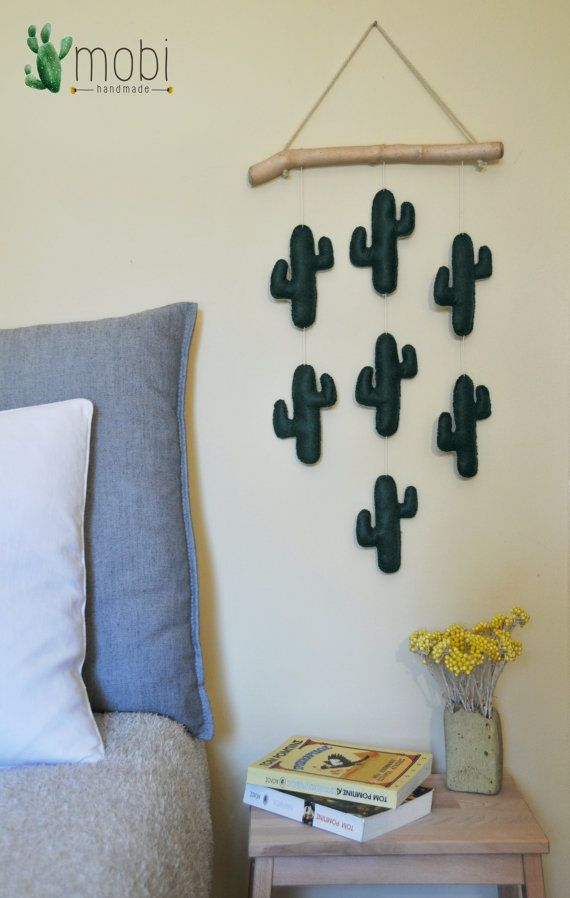 Handmade wall hanging with Cacti | Reclaimed wood hanging | by MobiHandmadeShop