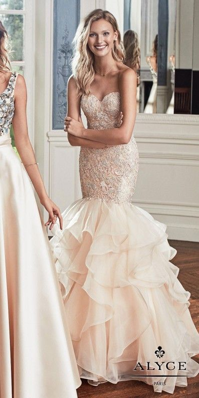 Alyce Paris Rhinestone Embellished Strapless Organza Mermaid Prom Dress
