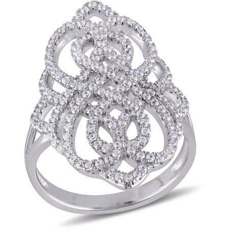 Miabella 1 5 8 Carat T G W Cubic Zirconia Sterling Silver Infinity Ring Silver Infinity Ring Fashion Rings Sterling Silver Jewelry