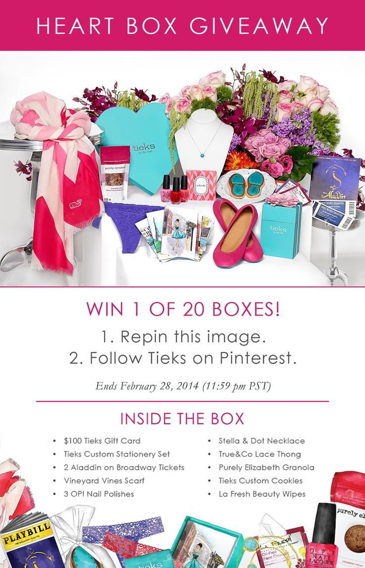 Giveaway: 20 Heart Boxes that include a $100 Tieks GC & treats that'll make your heart flutter! (1) Repin this image, (2) Follow Tieks on Pinterest: http://www.pinterest.com/tieks/.