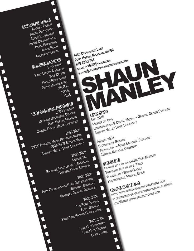 CV creativo ideal para cineastas y actores Fuente@deviantART +Info: http://aulacm.com/plantillas-de-curriculums-creativos-cv/