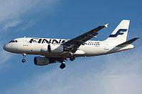 Finnair Airbus A319-112 OH-LVB aircraft, on short finals to Hungary Budapest Ferenz Liszt International Airport. 11/12/2016.