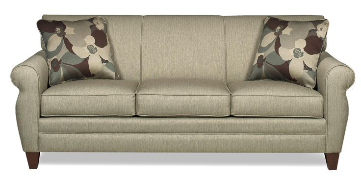 Transitional Sofa from Becker Furniture World. Great neutral color with fun accent pillows. Perfect for a family room, living room or den!