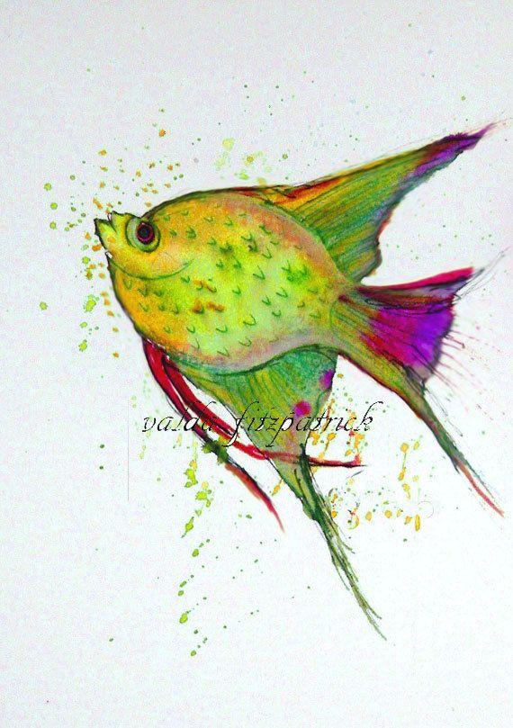 Swimming Fish. print 5x7 gift idea wall decor. by valdasfineart