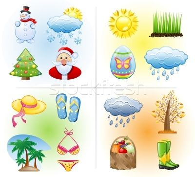 Stock photo: Seasons icon set: winter, spring, summer, autumn.