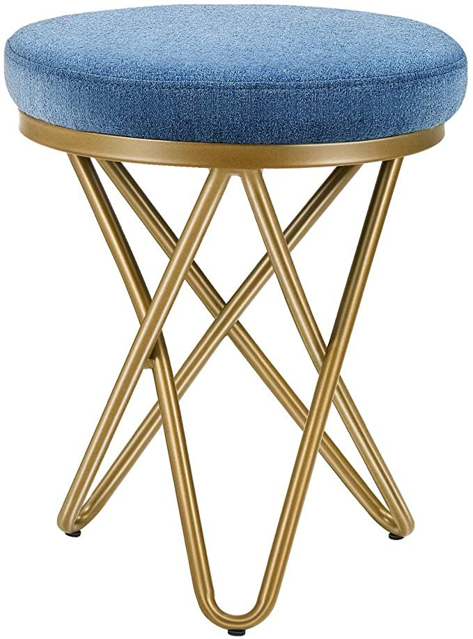 Round Dressing Table Stools Soft Velvet Padded Makeup Chair Seat Black Wire Legs
