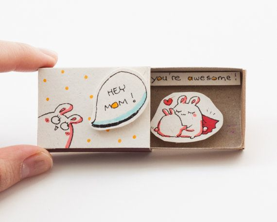 Mother's Day Hey Mom You're Awesome Card Matchbox/ Gift by shop3xu