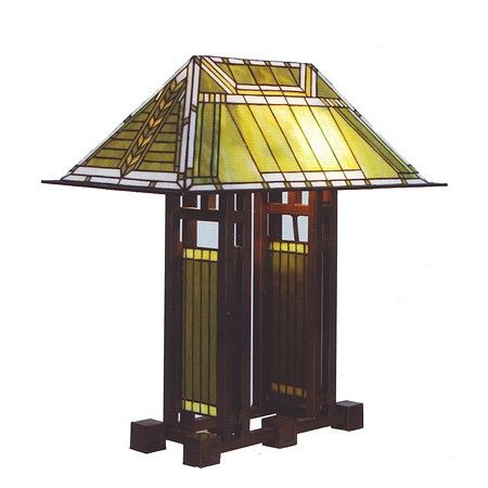 Tiffany Tafellamp naar ontwerp van Frank Lloyd Wright. Verkrijgbaar bij www.artdecowebwinkel.com. / Tiffany Table Lamp by Frank Lloyd Wright. Available at artdecowebstore.com.