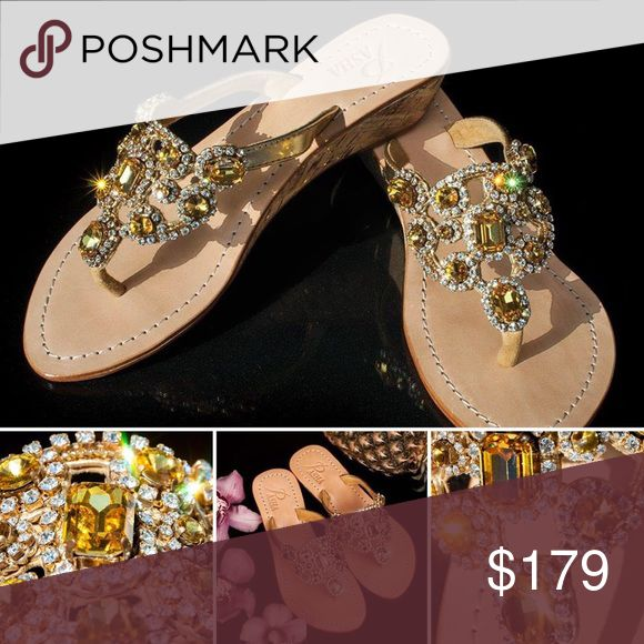 Gorgeous Jewelry Shoes ST LUCIA Jeweled with Real top quality Bohemian Swarovski style crystals from European Company called Preciosa and Mother of Pearl and Coral from Indian Ocean, own hired divers and own cutters. Only highest grade natural leather. Each pair is created by master shoemakers by hand that takes somewhere around 8 to 12 hours of work Fantastic golden gift box (collapsible) with metal corners and real organza sack.  PLEASE ORDER ONE SIZE UP, ESPECIALLY FROM US WOMEN'S 7 PASHA…