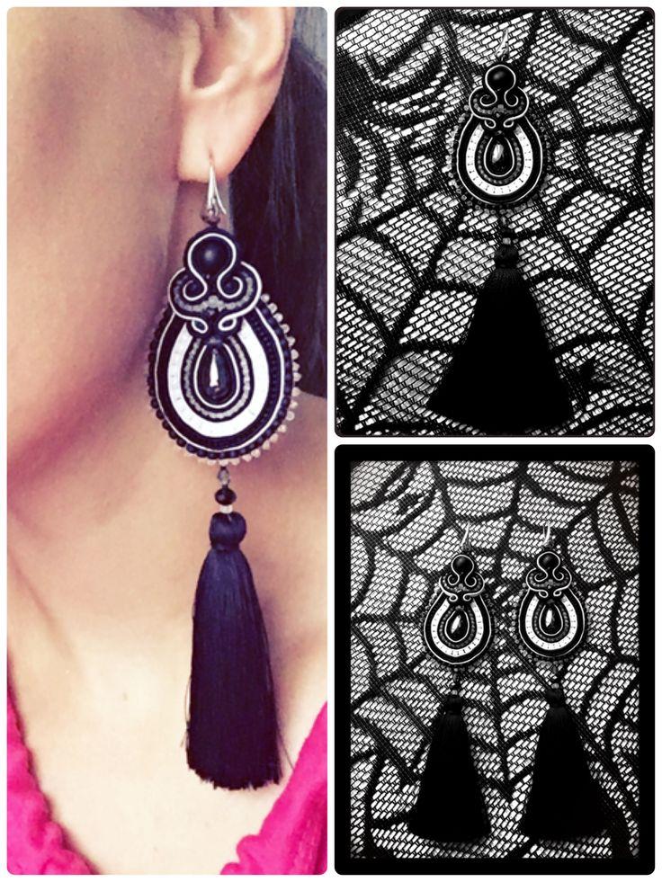 Soutache earrings rękodzieło Black & white