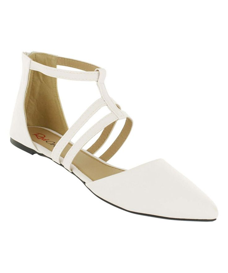 Look at this Red Circle Footwear White Strappy Steph Ballet Flat on #zulily today!