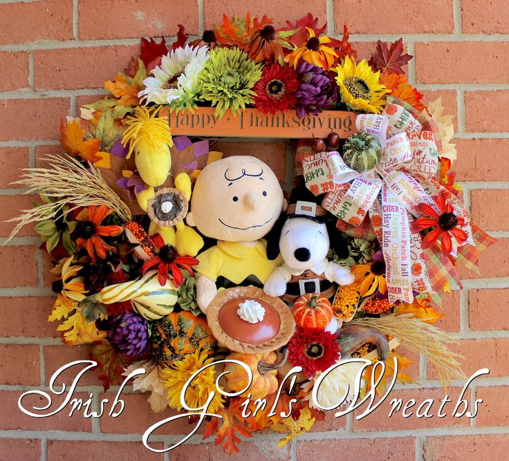 Charlie Brown- Snoopy- and Woodstock Thanksgiving Wreath
