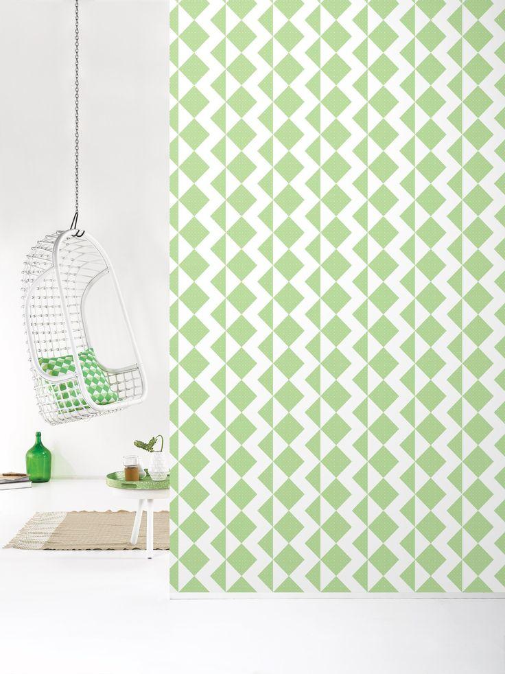 Behang Zigzag Freshgreen - Behangpapier - Muur