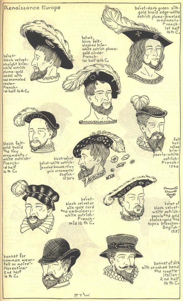 Os chapéus renascentistas tinham bordas arredondadas ou arrebitadas.