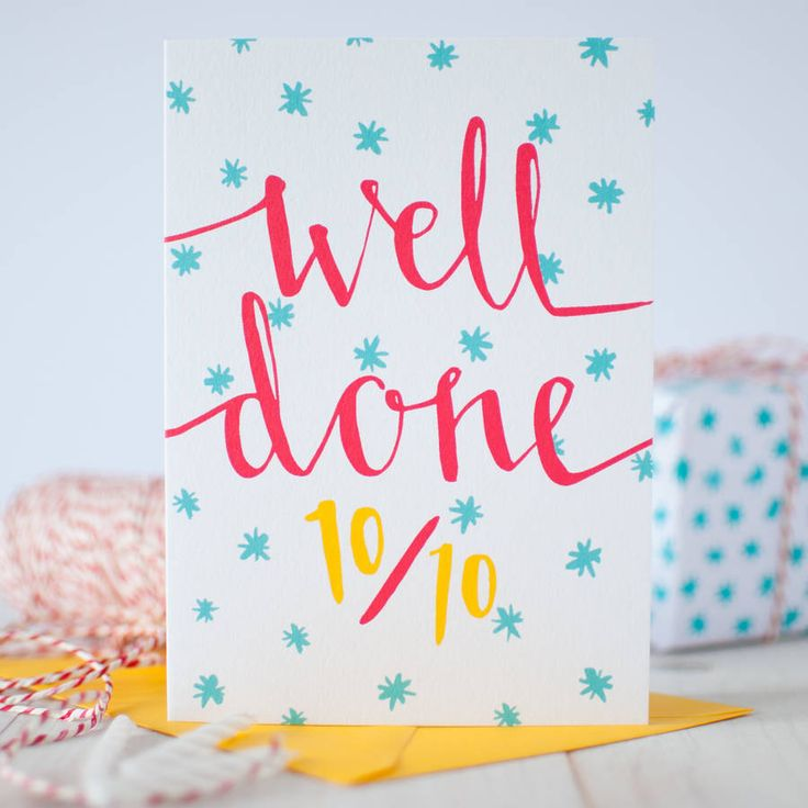 Hand designed by Betty Etiquette, say Well Done with this joyful red, blue and gold congratulations card - perfect to mark a great success.Bold, vibrant and full of colour, this stylish 'Well Done' card has been illustrated by Betty Etiquette with striking solid-colour graphics and contemporary calligraphy, printed on high-quality textured card for a glorious finish. It comes with a rich yellow envelope to make a perfect colour combination. The design features hand illustrated message…
