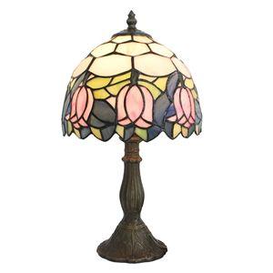 D20cm Tiffany Tischleuchte Pink Rose Design 1-flammig im Schlafzimmer