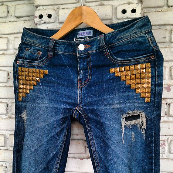 Vintage Reworked Studded Jeans / Hand Studded Jeans by KodChaPhorn