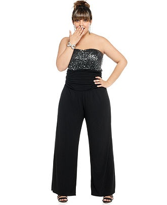 Love Squared Plus Size Jumpsuit, Strapless Sequined Ruched Waist