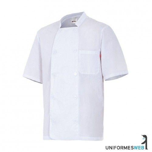 #chaquetilla de #cocinero en color blanco y manga corta para ropa de trabajo en uniformes web