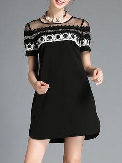 Black Casual Crew Neck Woven Mini Dress