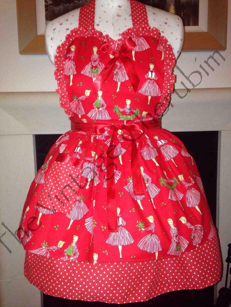 Happy Holidays vintage apron