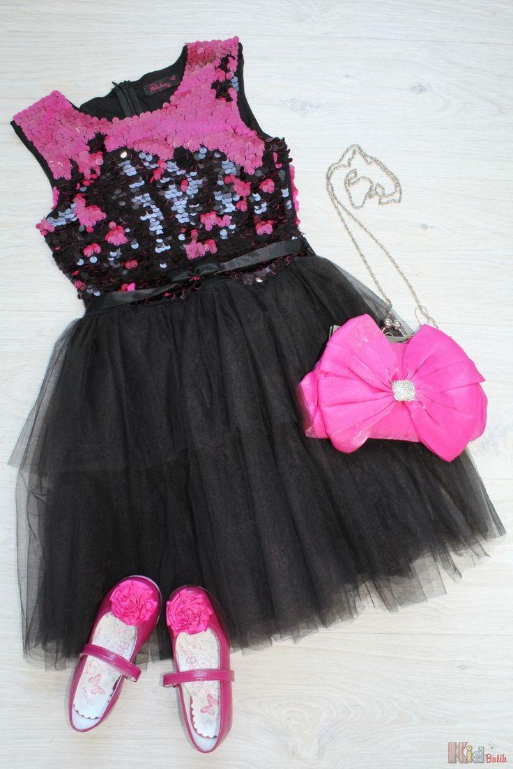 Платье нарядное чёрное с паетками для девочки