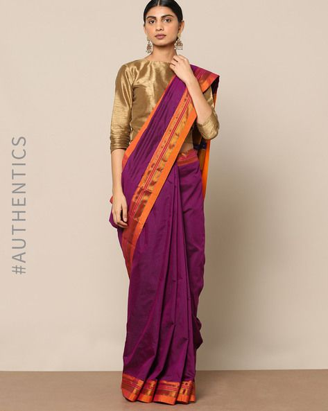 6c4525c203 Buy Indie Picks Women Purple Cotton Silk Ilkal Saree with Zari Border | AJIO