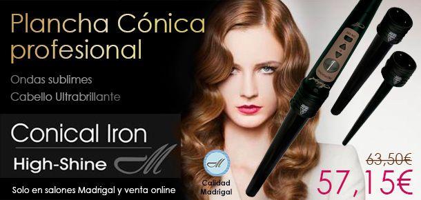 ¡No te pierdas esta #oferta! PLANCHA CONICAL IRON MADRIGAL Plancha profesional conical iron 3 en 1. 3 barras intercambiables para diferentes looks. Ondas sublimes, cabello ultra-brillante. Por sólo 57,15€ en nuestra tienda online