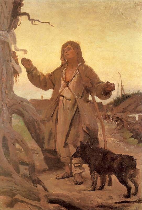Józef Chełmoński...............Przed figurą 1905. Olej na płótnie. 93 x 65 cm.   Własność prywatna.