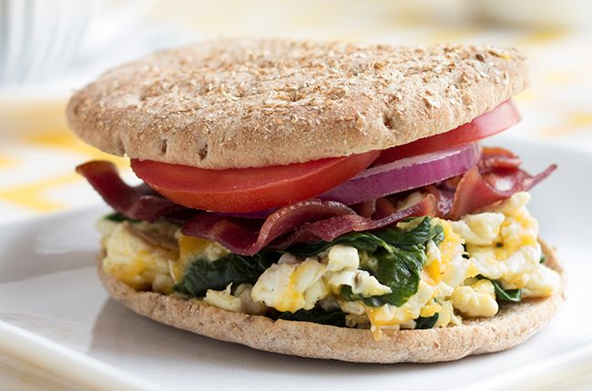 Turkey Bacon, Egg White, and Spinach Breakfast Sandwich