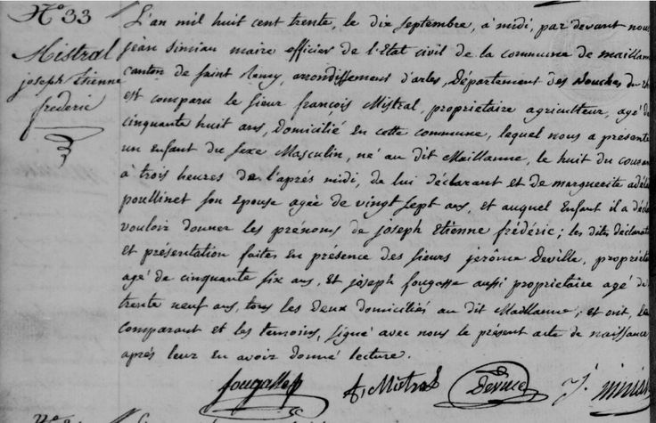 Acte de naissance de Joseph Étienne Frédéric MISTRAL, né le 9 septembre 1830 à Maillane (13) | Archives départementales des Bouches-du-Rhône