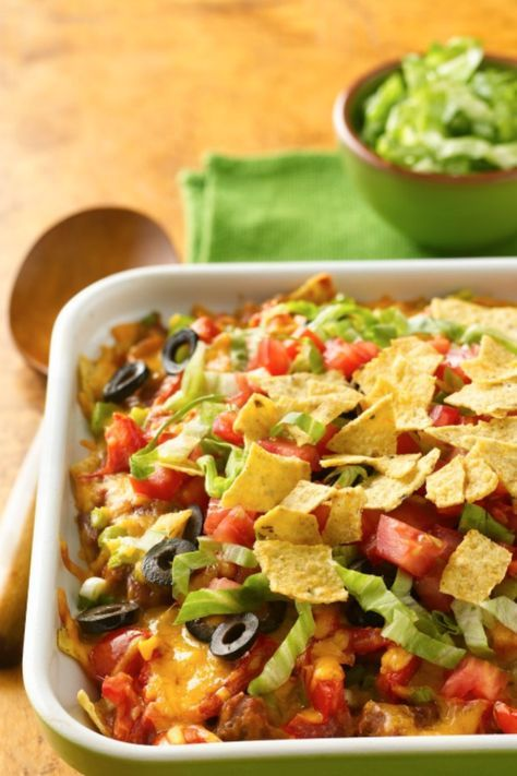 This quick-and-easy beef taco casserole has more than 48,000 shares on Pinterest and Facebook—one of Betty's most popular recipes ever! It's so easy to make with taco ingredients you already have on hand, including all those broken tortilla chips that wind up at the bottom of the bag. If you're making it ahead, set aside the lettuce, tomato and last ½ cup tortilla chips to add those after baking.
