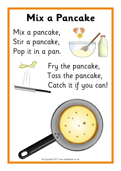 Mix a Pancake is a fun and amusing nursery rhyme to sing while making pancakes with your child. Sparkle box(2017)retrieved from https://nz.pinterest.com/pin/602708362602182454/