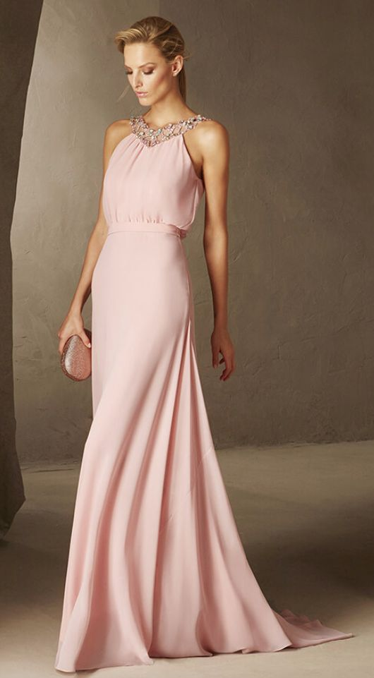 Stunning jeweled high-neck pink bridesmaid dress; Featured Dress: Pronovias